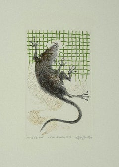 The Rat - Original Etching on Paper by Leo Guida - 1973