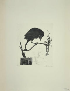 The Raven - Original Etching on Paper by Leo Guida - 1972