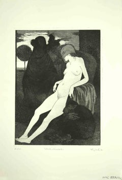 The Sleeping Sybil - Original Print by Leo Guida - 1970