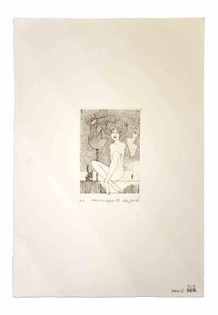 Woman with Signals - Original Etching by Leo Guida - 1989