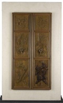 The Great Door 1 - Original Wooden Sculpture by Leo Guida - 1986