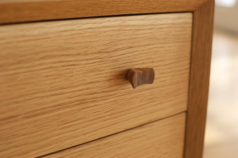 Leo Highboy, Modern Tall Chest of Drawers with Turned Legs and Shaped Pulls In New Condition For Sale In Stevenson, WA