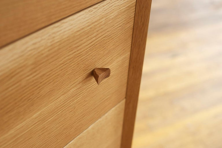 Contemporary Leo Highboy, Modern Tall Chest of Drawers with Turned Legs and Shaped Pulls For Sale