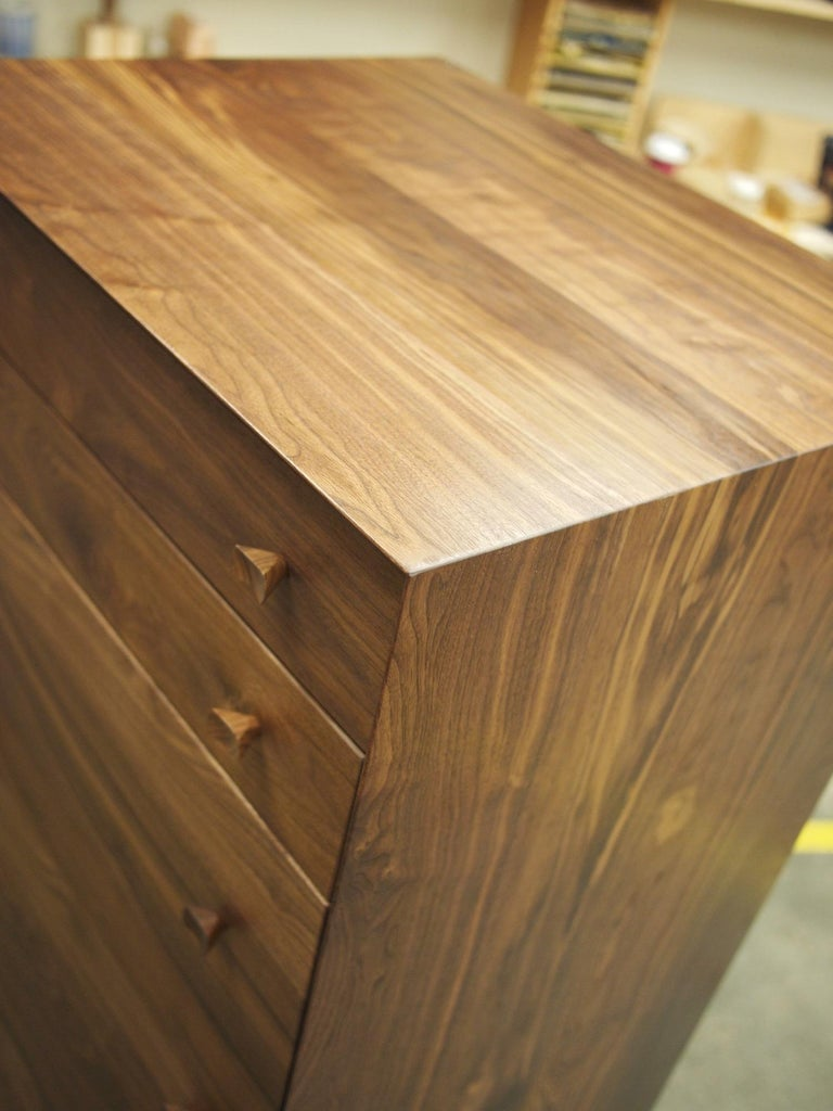Leo Highboy, Modern Tall Chest of Drawers with Turned Legs and Shaped Pulls For Sale 1