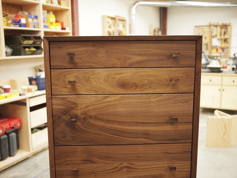 Leo Highboy, Modern Tall Chest of Drawers with Turned Legs and Shaped Pulls For Sale 2