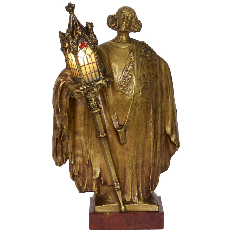 Léo Laporte-Blairsy French Art Nouveau Bronze Sculpture Antique Table Lamp