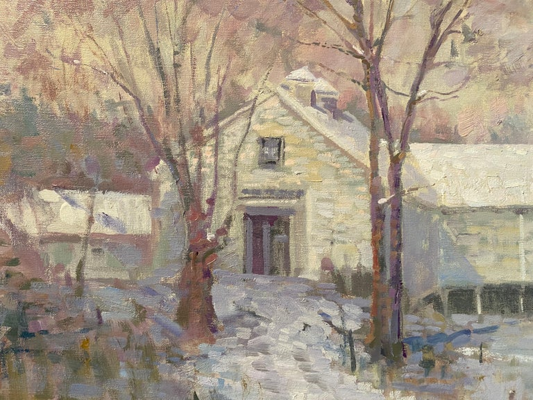 Painted en plein air, in the style of contemporary impressionism. Pastel colors make up a white, snowy landscape.   Leo Mancini-Hresko began his art education in 1999 at the Art Institute of Boston at Lesley University.  During a semester abroad in