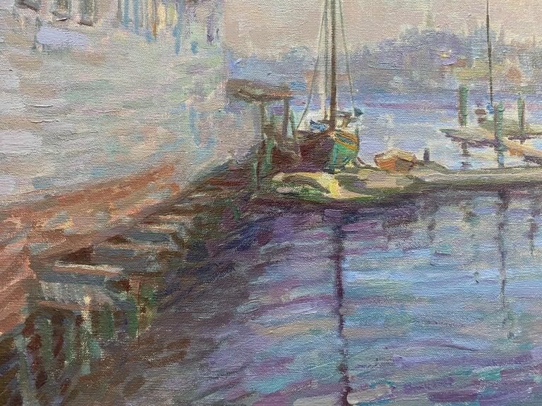 Gloucester Twilight  - Gray Landscape Painting by Leo Mancini-Hresko