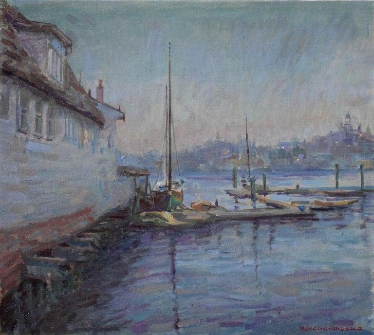 Leo Mancini-Hresko Landscape Painting - Gloucester Twilight