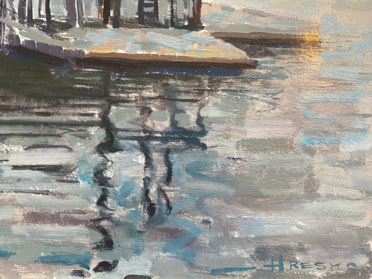 Lobster Dock - Gray Landscape Painting by Leo Mancini-Hresko