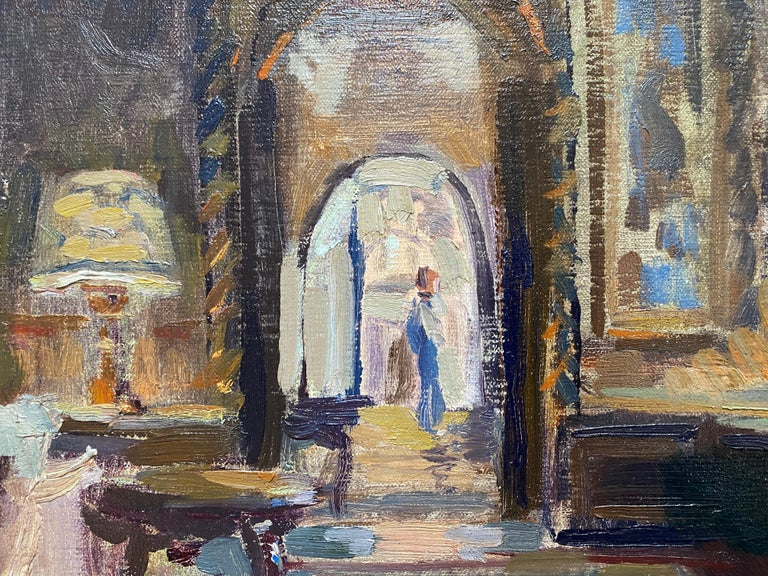 Painted on-site, at Mar a Lago, the lavish resort owned by Donald J. Trump, in Palm Beach, Florida. Leo Mancini Hresko was invited to paint with a student at the Mar a Lago mansion, and decided to paint the main room towards the grand entrance of