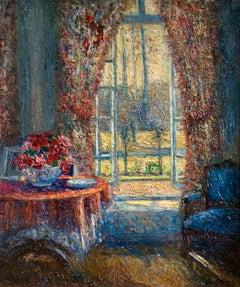 Le Salon de Gausson - 19th Century Oil, View of Interior by Leo Gausson