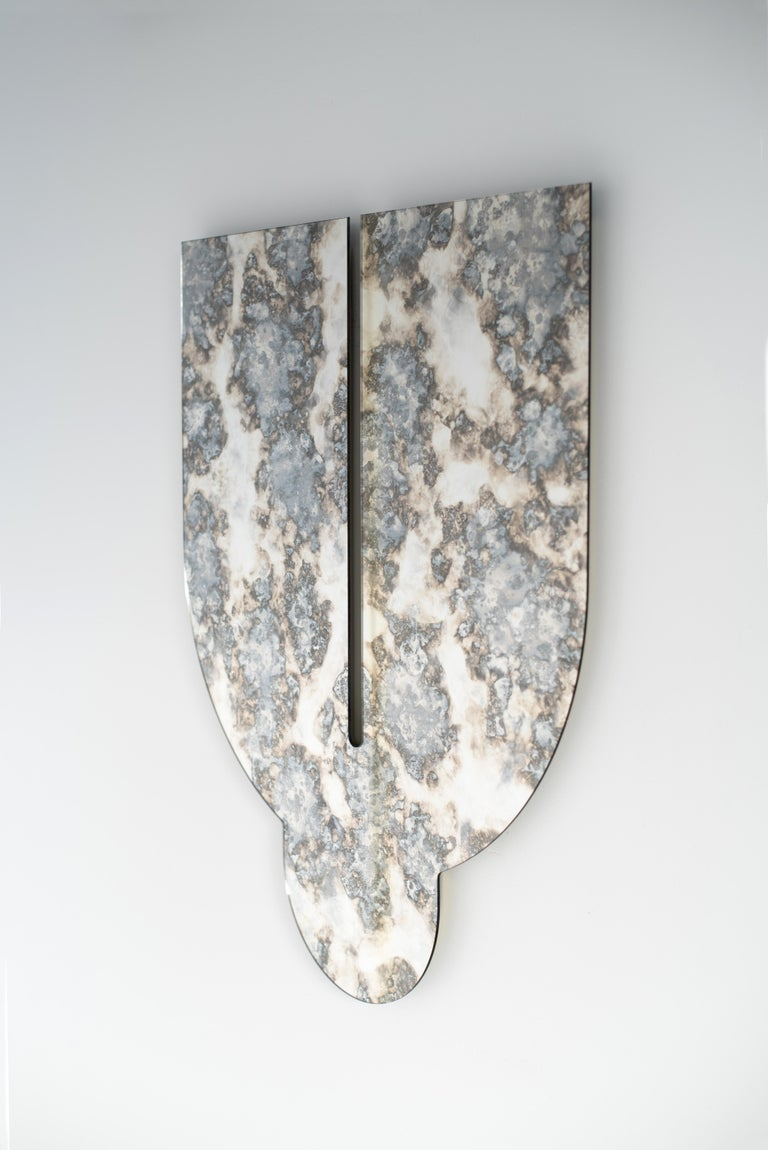 Silver Antiqued Mirror - Leo Mirror by Ben & Aja Blanc For Sale 1