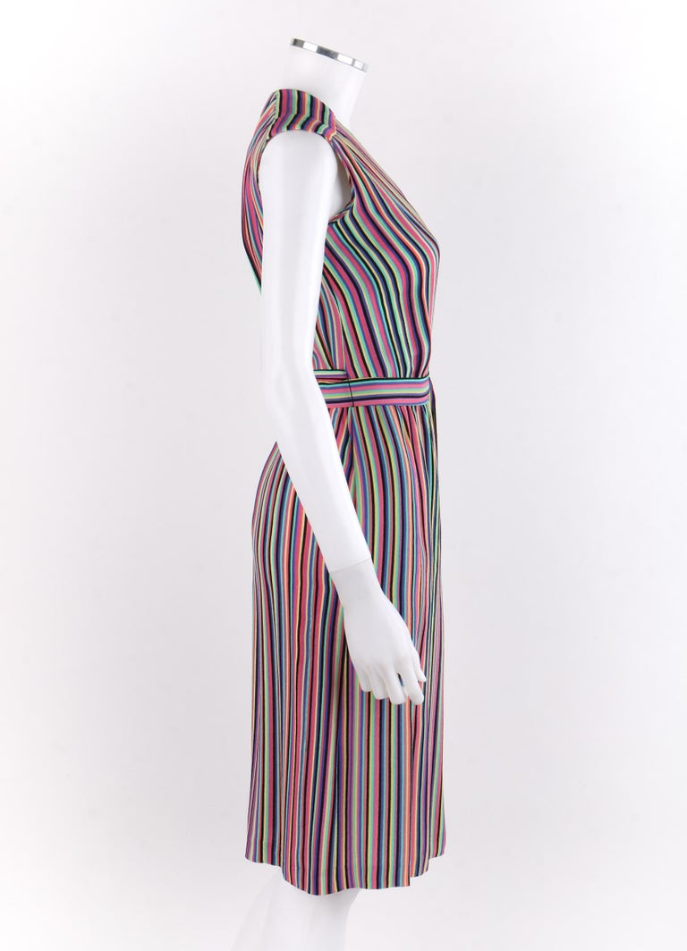 Gray LEO NARDUCCI c.1970's Multi-Color Rainbow Vertical Stripe Wrap Dress For Sale