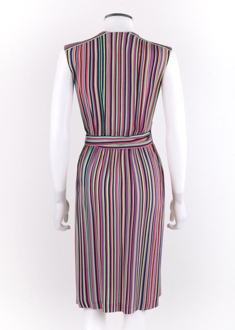 LEO NARDUCCI c.1970's Multi-Color Rainbow Vertical Stripe Wrap Dress In Good Condition For Sale In Thiensville, WI