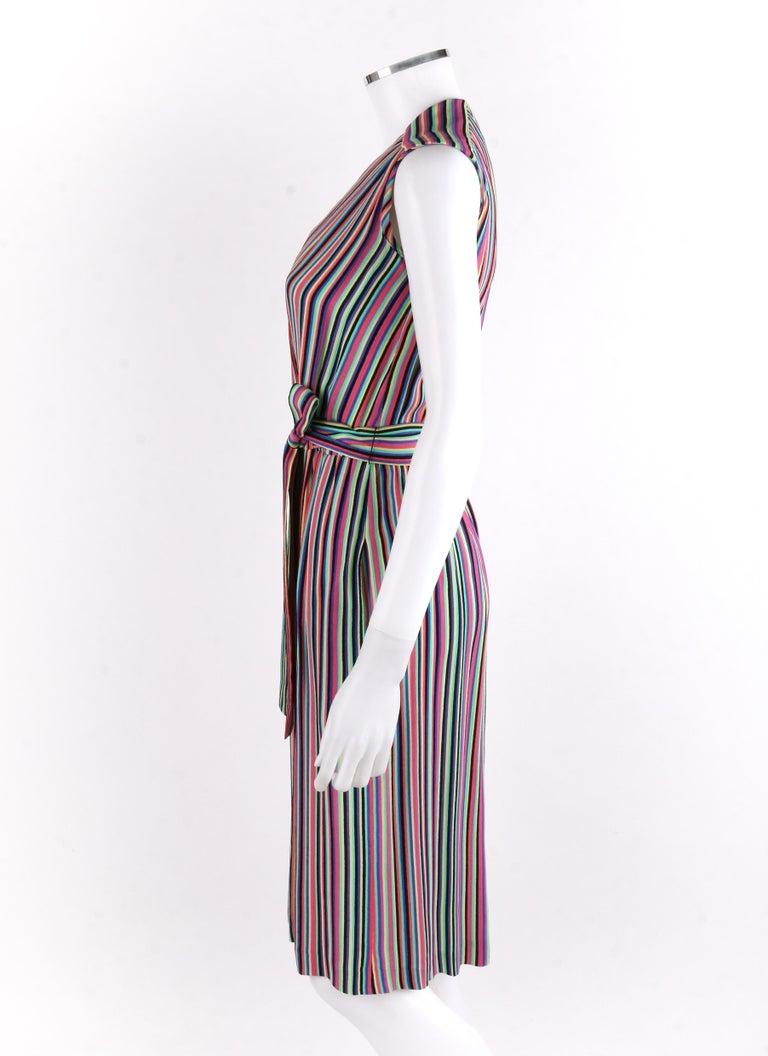 Women's LEO NARDUCCI c.1970's Multi-Color Rainbow Vertical Stripe Wrap Dress For Sale