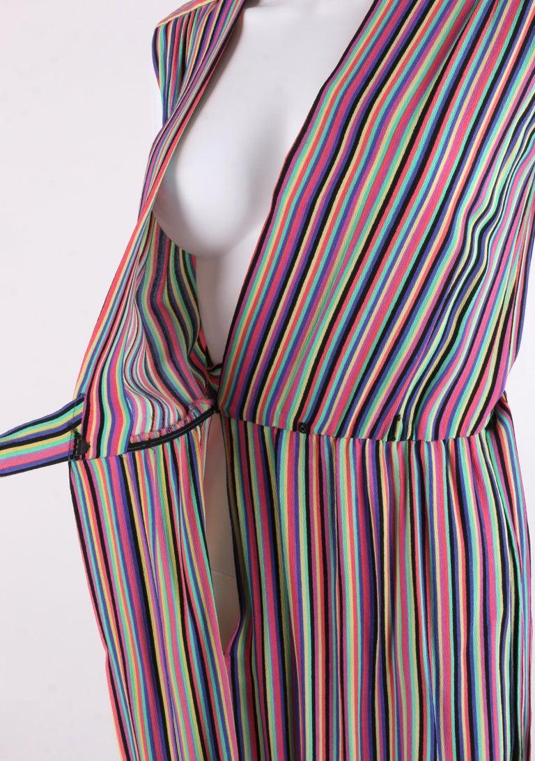 LEO NARDUCCI c.1970's Multi-Color Rainbow Vertical Stripe Wrap Dress For Sale 1