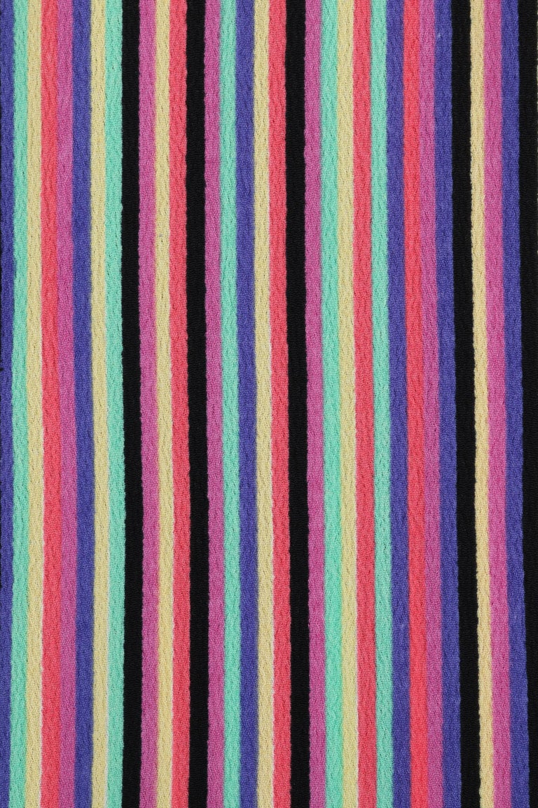LEO NARDUCCI c.1970's Multi-Color Rainbow Vertical Stripe Wrap Dress For Sale 2