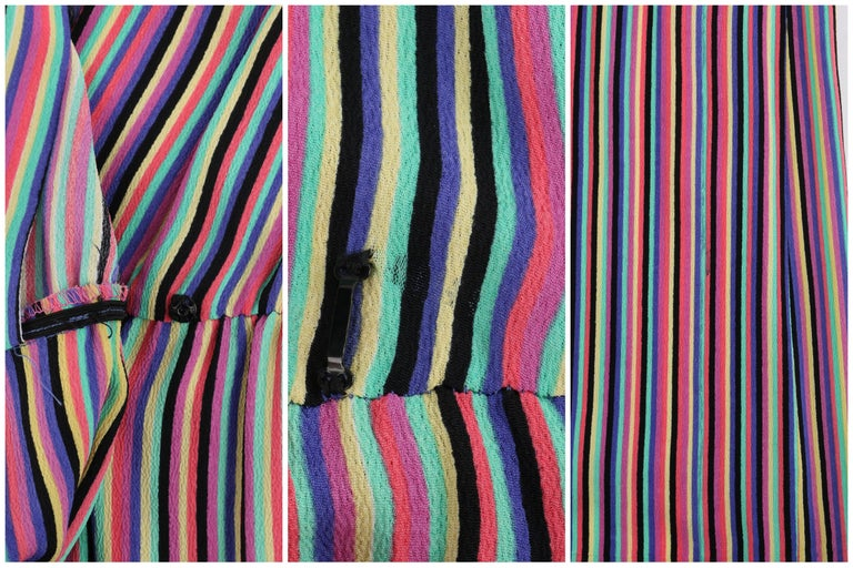 LEO NARDUCCI c.1970's Multi-Color Rainbow Vertical Stripe Wrap Dress For Sale 4
