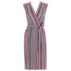 LEO NARDUCCI c.1970's Multi-Color Rainbow Vertical Stripe Wrap Dress