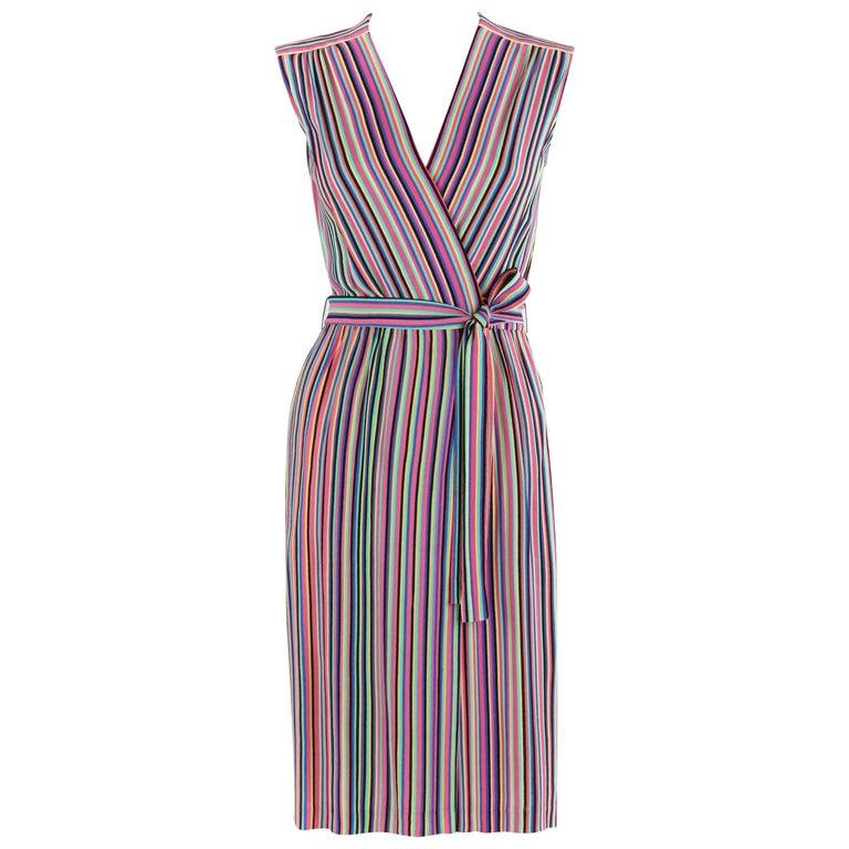 LEO NARDUCCI c.1970's Multi-Color Rainbow Vertical Stripe Wrap Dress For Sale