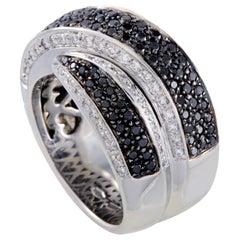 Leo Pizzo 18 Karat White Gold White and Black Diamond Cross-Over Wide Band Ring