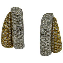Leo Pizzo of Milan Diamond Encrusted Yellow & White Gold Coulture Earrings