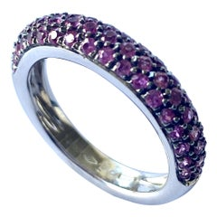 Leo Pizzo Pink Sapphires White Gold Ring, Model: Pavé