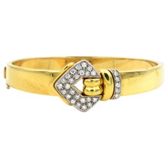 Leo Pizzo Signed 0.9 Carat Diamond 18 Karat Gold Bangle Bracelet
