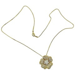 Leo Pizzo Signed Iconic Flower Pavé Diamond Necklace Yellow Gold
