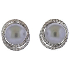 Leo Pizzo Tahitian South Sea Pearl Diamond Gold Earrings