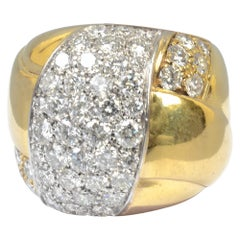 Leo Pizzo Wide Gold Diamond Band Ring