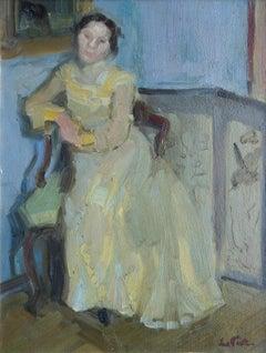 Sitzende Dame (Sitting Lady) - Oil/Panel, Impressionist, Portrait, Pastels