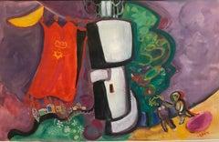 Israeli Kibbutz Artist Judaica Shul Torah Ark Surrealist Gouache Painting