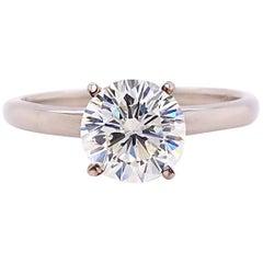 LEO Round Brilliant Diamond 1.52 Carat H SI1 Solitaire Ring 14 Karat WG PLAT
