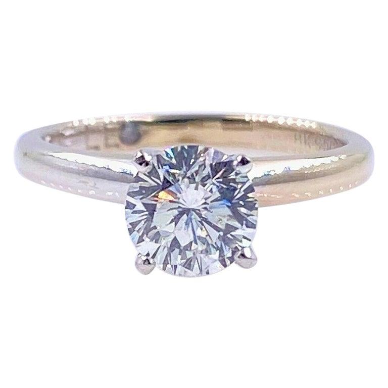 Leo Round Diamond 1.01 Carat Solitaire Ring Platinum and 18 Karat White Gold For Sale
