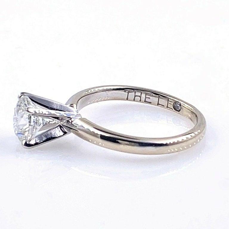Leo Round Diamond 1.01 Carat Solitaire Ring Platinum and 18 Karat White Gold For Sale 5