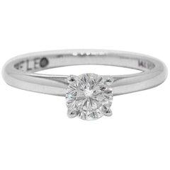 Leo Round Diamond Solitaire Engagement Ring 0.69 Carat G SI2 14 Karat White Gold
