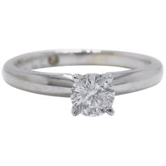 Leo Round Diamond Solitaire Ring 0.45 Carat E I1 14 Karat White Gold