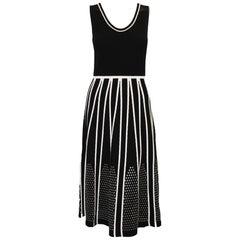 Leo & Sage Black Knit Sleeveless Dress W/ Pointelle Features In White