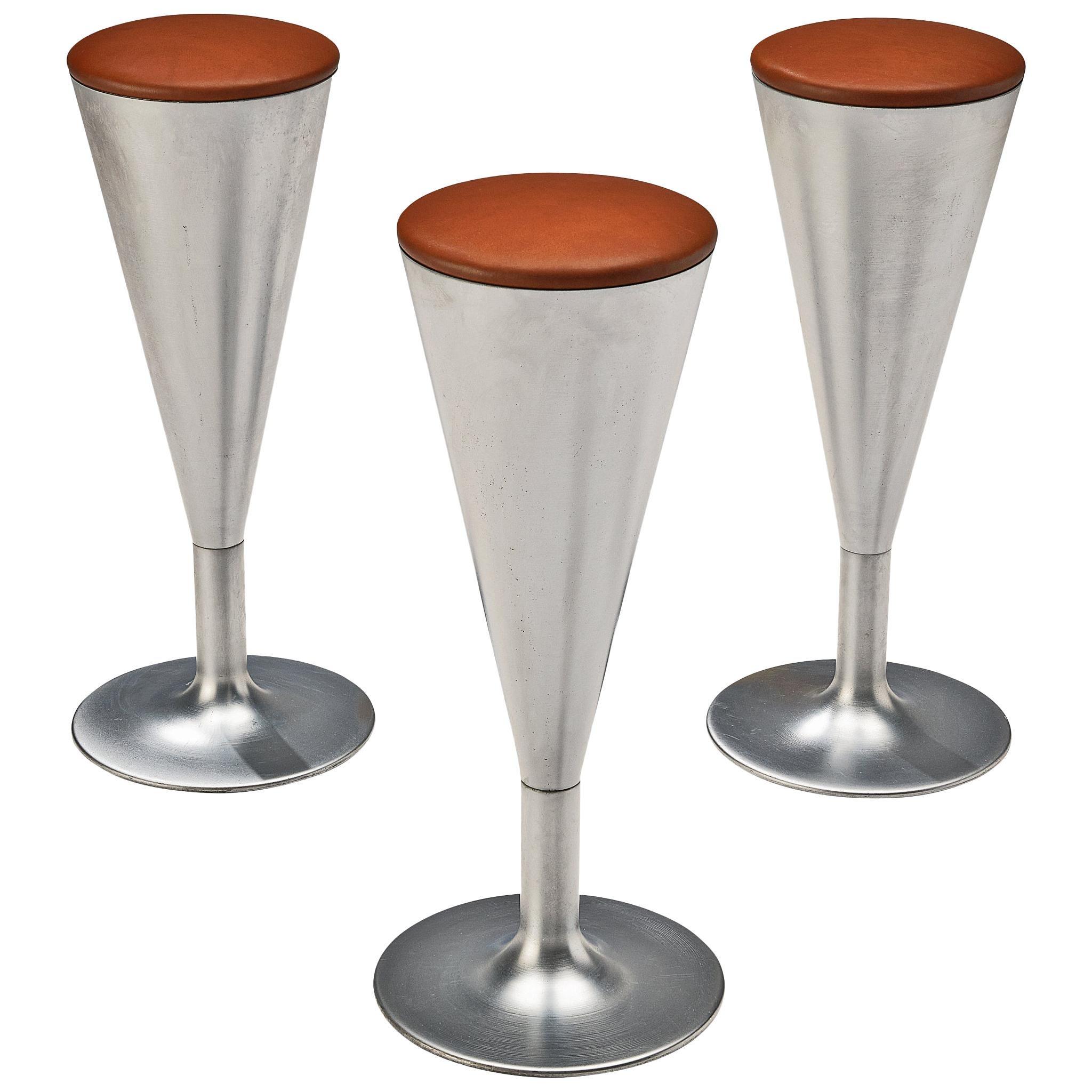 Leo Thafvelin for Johanson Design Set of Bar Stools in Steel