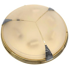 Leola Leuchten Glass, Brass Chrome, Art Deco Style Flush Mount, 1970s