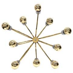 Cosack Leuchten Modernist Sputnik Brass and Chrome 10-Light Flush Mount, 1970s