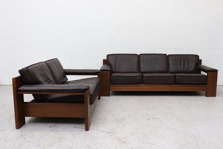 Leolux 3 Seater Leather and Oak Sofa