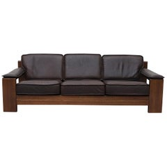 Leolux 3 Seater Leather and Oak Sofa