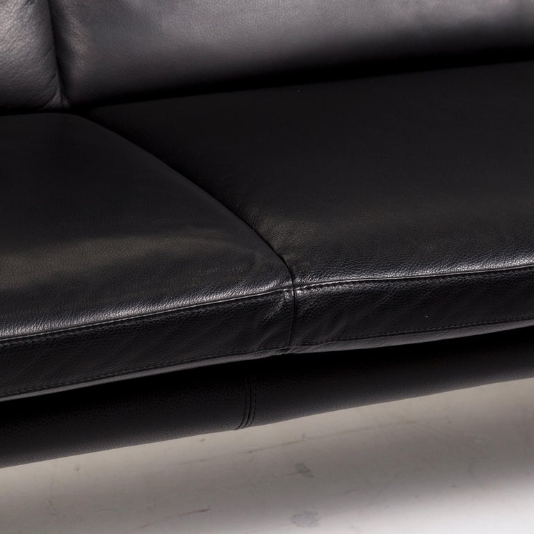 Modern Leolux Antipode Leather Sofa Black Two-Seat Couch