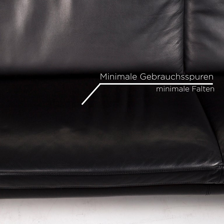 Dutch Leolux Antipode Leather Sofa Black Two-Seat Couch
