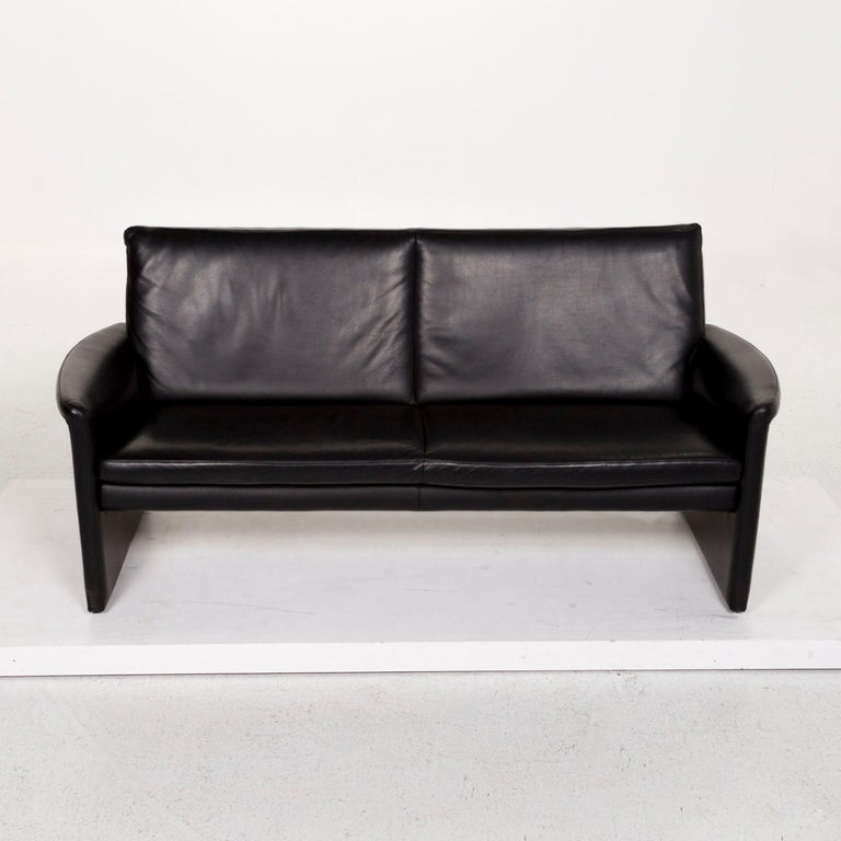Leolux Antipode Leather Sofa Black Two-Seat Couch 1