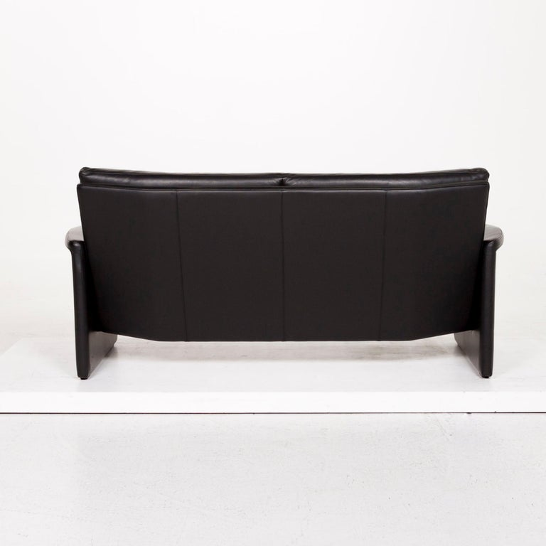 Leolux Antipode Leather Sofa Black Two-Seat Couch 3
