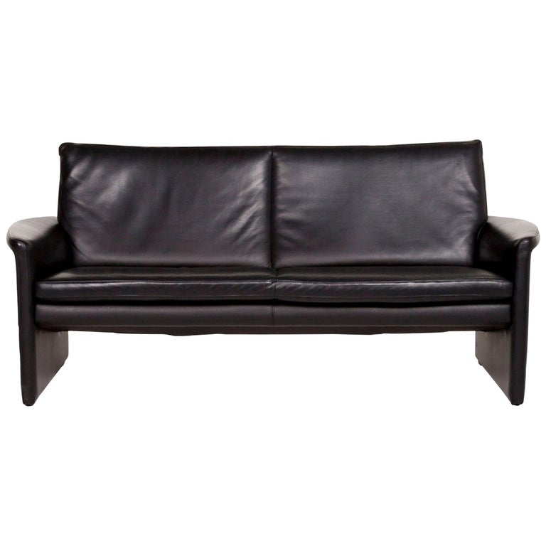 Leolux Antipode Leather Sofa Black Two-Seat Couch